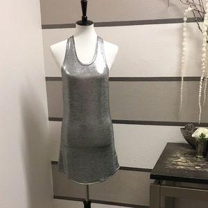 Metallic racer back mini dress.